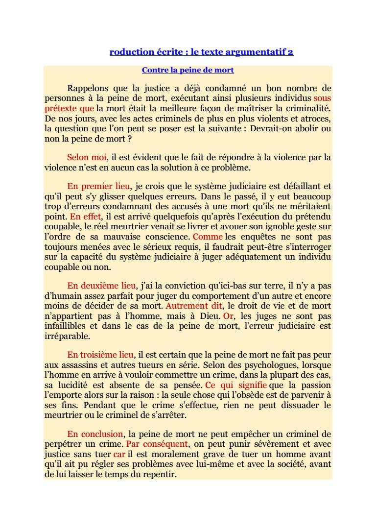 texte argumentatif sur la peine de mort