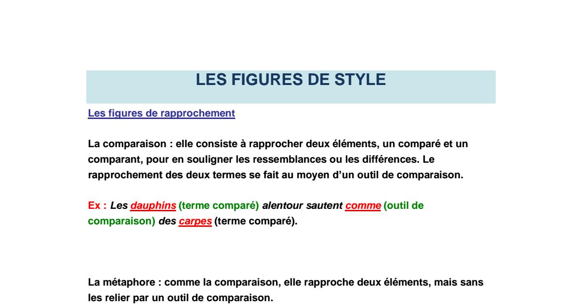 Les figures de style , explication, exemple et des ...